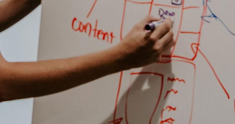 Person making website mockup on whiteboard