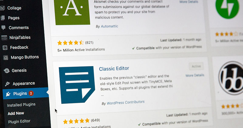 Back end of a wordpress site showing popular plugins