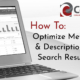 Title screen showing a laptop with Google Analytics on it, reading: How To Optimize Meta Title & Description For Search Results