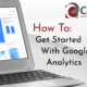 Title Cards which reads: How To Get Started With Google Analytics with a laptop displaying Analytics report on it.