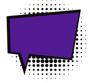 Purple comic book style speech bubble