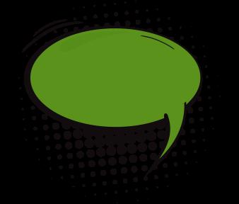 Green comic book style speech bubble