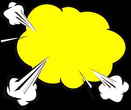 Yellow comic book style speech bubble
