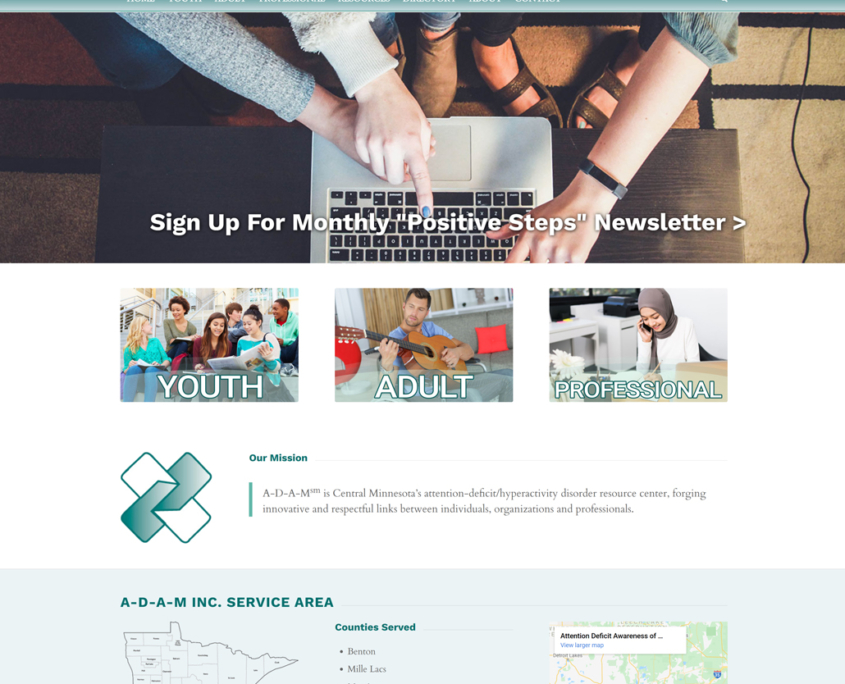 Custom WordPress website design for A-D-A-M, Inc. home page in St. Cloud, MN