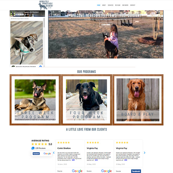 Absolutely Pawsitively Obedient Website Homepage