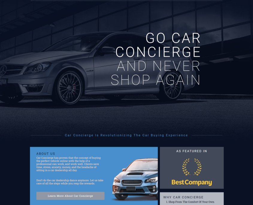 Custom Trustdyx website design for Car Concierge home page in Annandale, MN