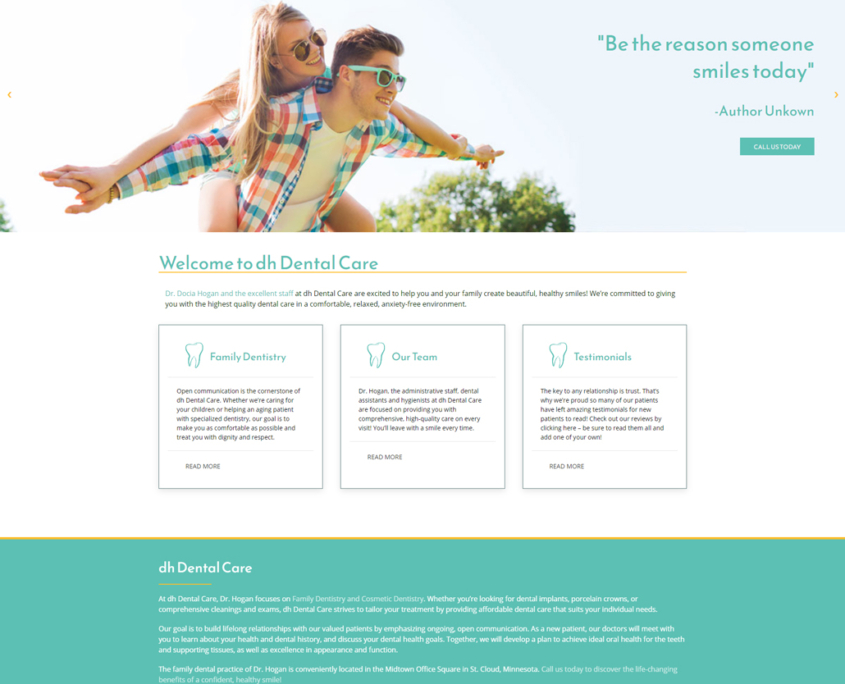 Custom Trustdyx website design for DH Dental home page in St. Cloud, MN