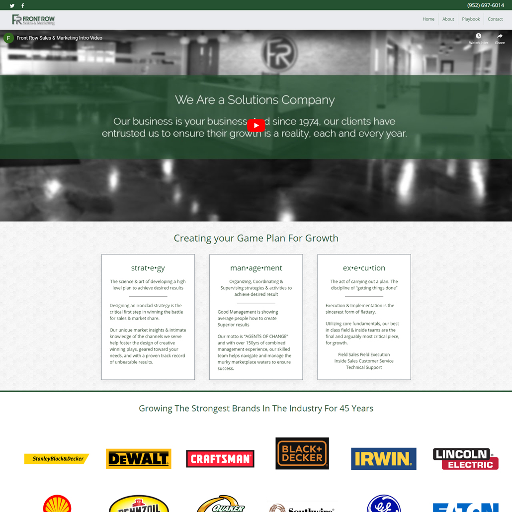Custom Trustdyx website design for Front Row Sales & Marketing home page in Bloomington, MN