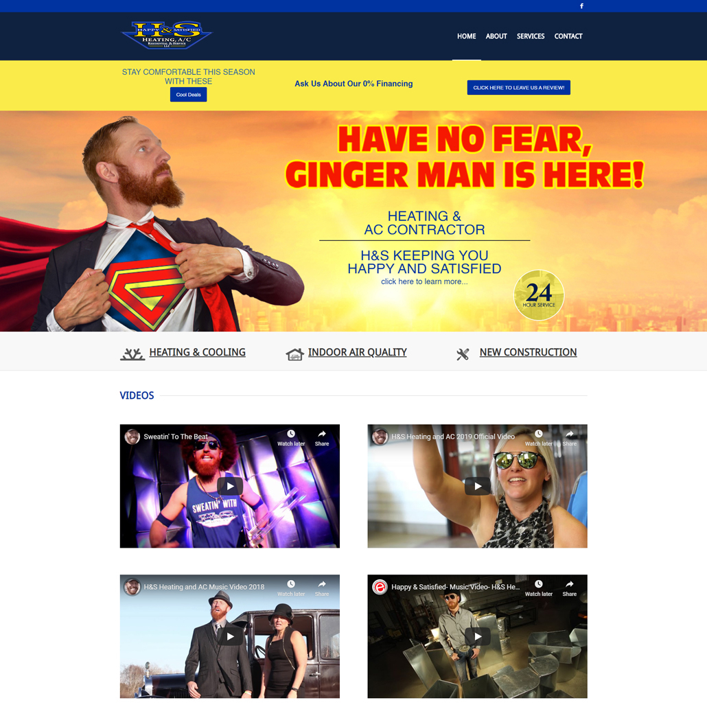 Custom WordPress website design for H&S Heating and A/C home page in St. Augusta, MN