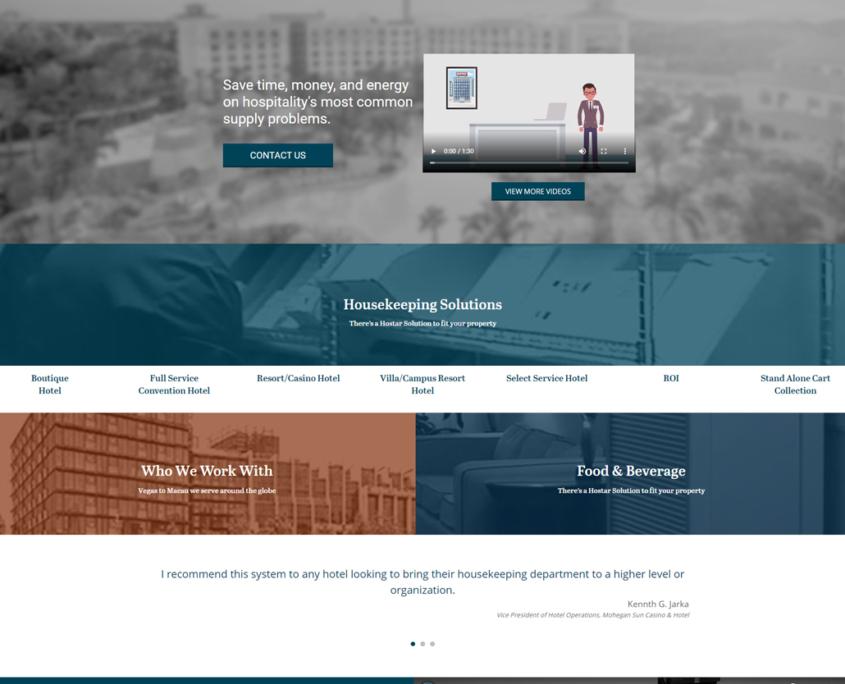 Custom Trustdyx website design for Hostar International home page in Solon, OH