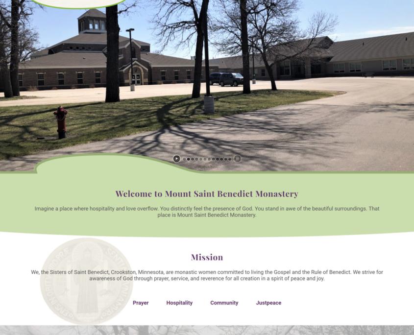 Custom WordPress website design for Mount Saint Benedict home page in Crookston, MN
