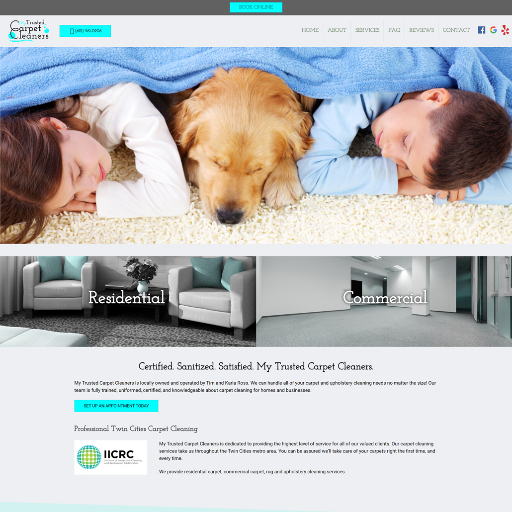 Custom Trustdyx website design for My Trusted Carpet Cleaner home page in Ham Lake, MN