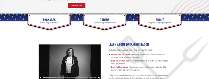 Custom WordPress website design for Operation Bacon home page in Hector, MN