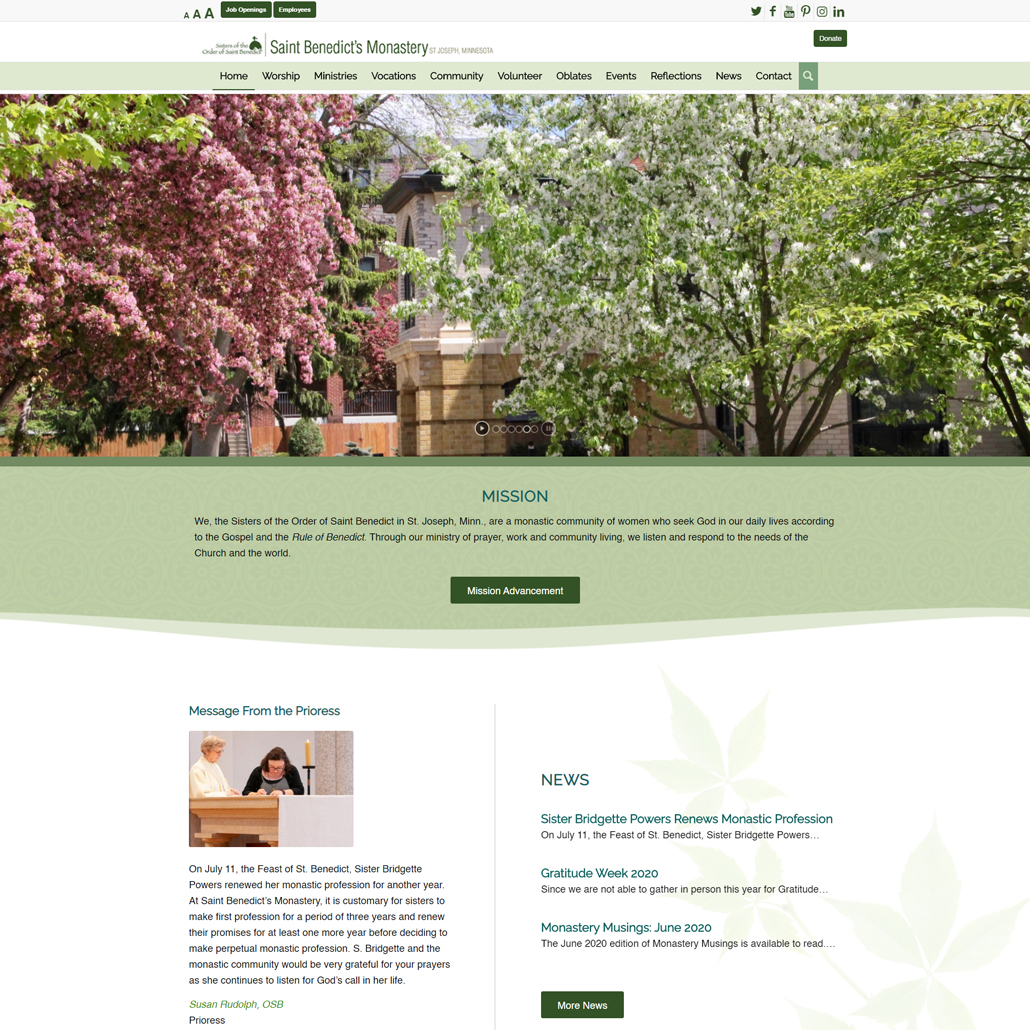 Custom WordPress website design for Sisters of the Order of St. Benedict home page in St. Joseph, MN