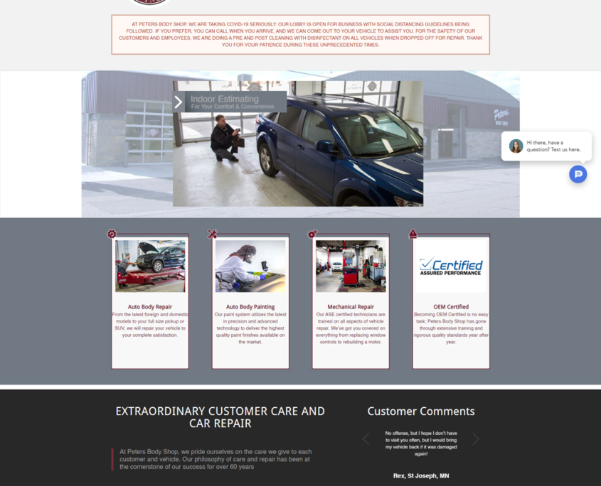 Custom WordPress website design for Peters Body Shop home page in St. Cloud, MN