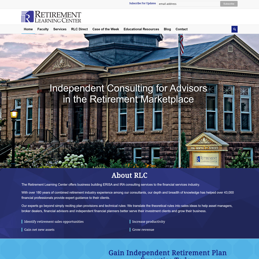 Custom WordPress website design for Retirement Learning Center home page in Brainerd, MN