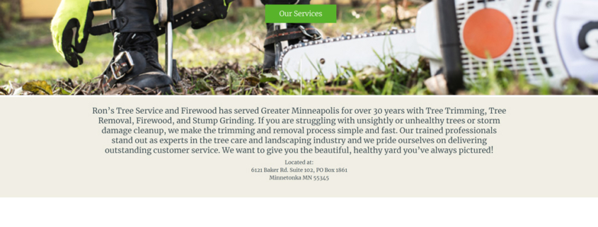 Custom Trustdyx website design for Rons Tree Service and Firewood home page in Minnesota