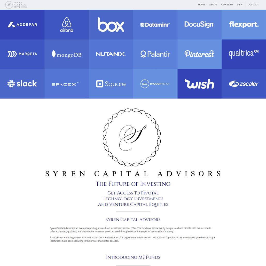 Custom Trustdyx website design for Syren Capital Advisors home page in New York, NY