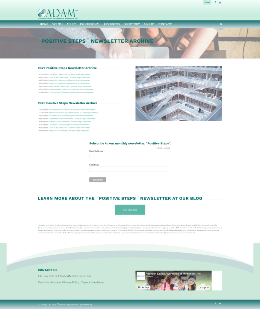 A-D-A-M's newsletter archive and sign up page for their monthly email marketing campaign run by Cohlab Digital Marketing.