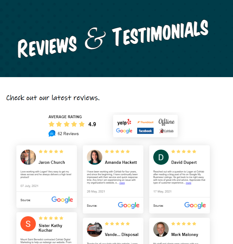 Image showing Cohlab Digital Marketing reviews page, with reviews gathered from Google, Facebook, Yelp, Thumbtack, and offline reviews.