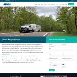 Custom WordPress website design for Unique Movers home page in Sauk Rapids, MN