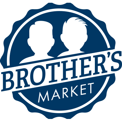 Logo for Brother's Market in dark blue, showing the name of the company and outlined head and torso of two men.