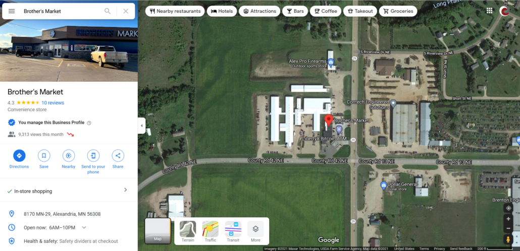 Google Map showing location of Brother's Market within Carlos and Google My Business information panel.
