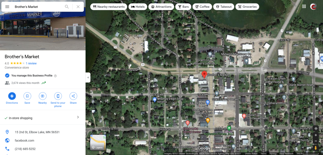 Google Map showing location of Brother's Market within Elbow Lake and Google My Business information panel.