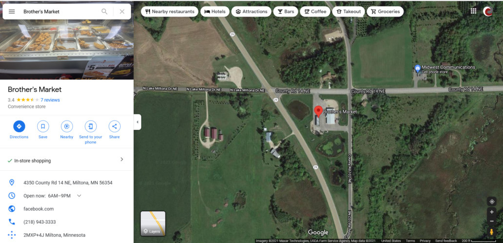 Google Map showing location of Brother's Market within Miltona and Google My Business information panel.