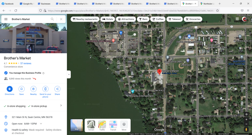 Google Map showing location of Brother's Market within Sauk Centre and Google My Business information panel.