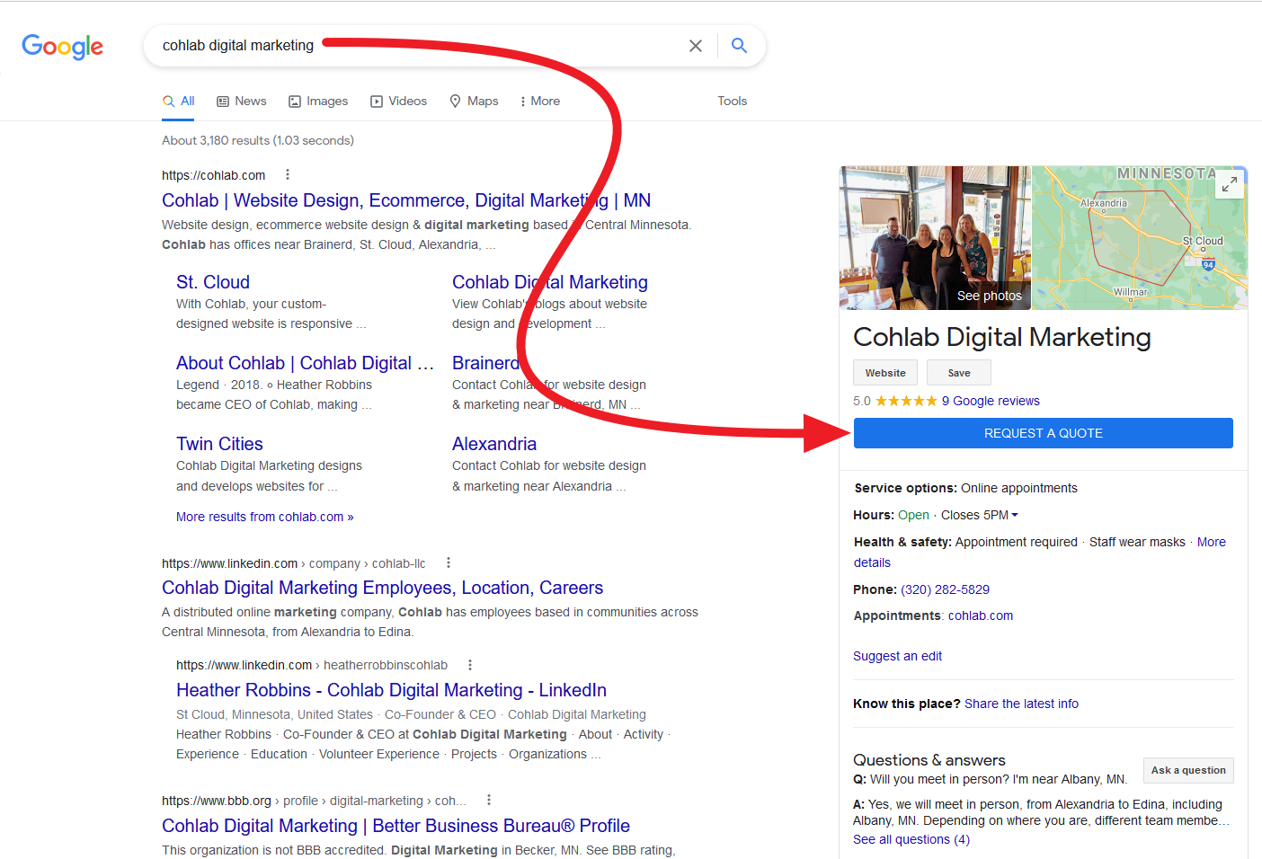 Screenshot of Desktop version of Request A Quote button in Google My Business listing for Cohlab Digital Marketing.