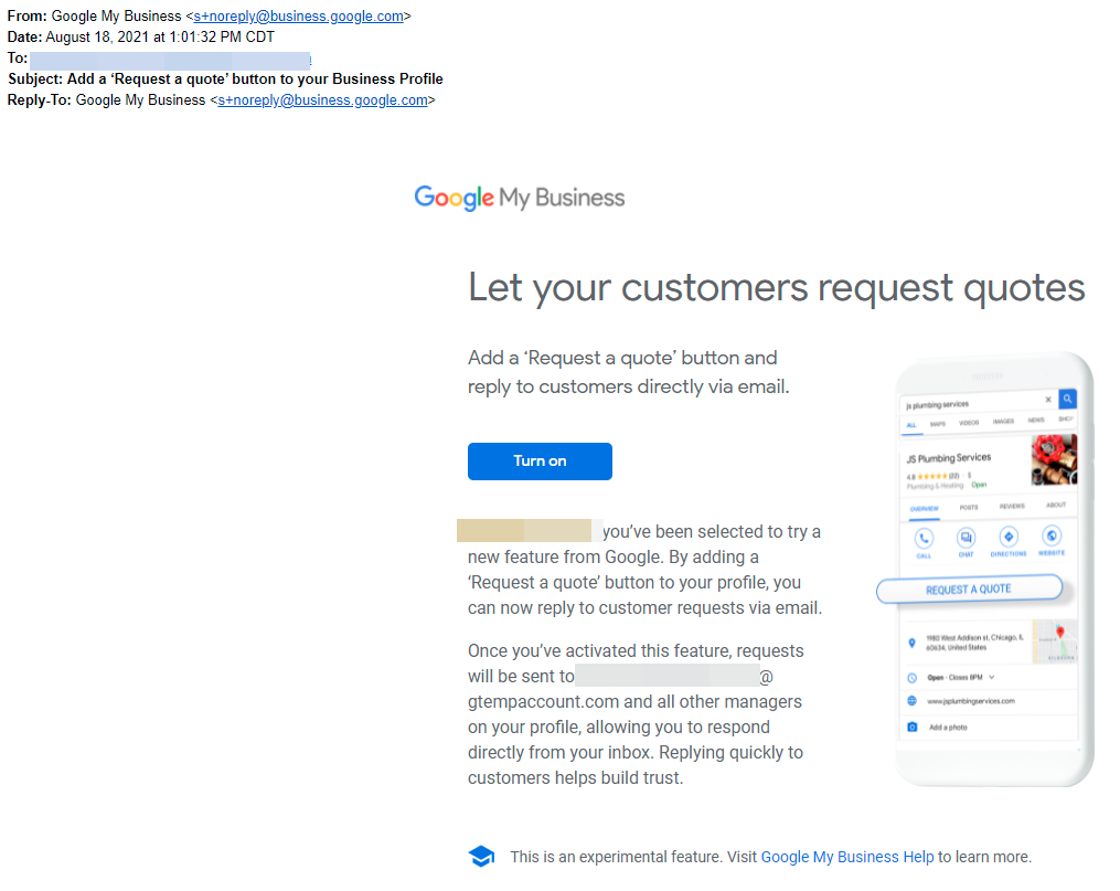 Screenshot of email from Google regarding Request A Quote button on Google My Business (GMB)