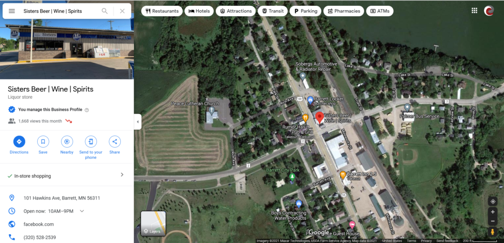 Google Map showing location of Sister's Beer   Wine   Spirits within Barrett and Google My Business information panel.