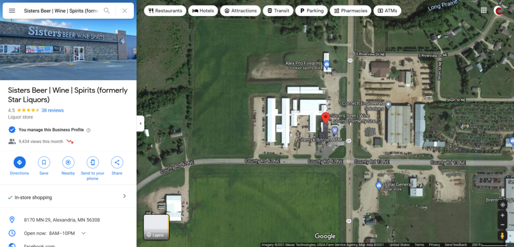 Google Map showing location of Sister's Beer   Wine   Spirits within Carlos and Google My Business information panel.