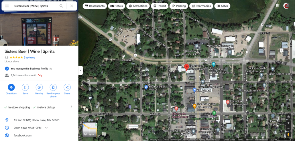 Google Map showing location of Sister's Beer   Wine   Spirits within Elbow Lake and Google My Business information panel.