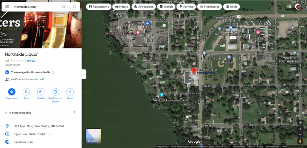 Google Map showing location of Sister's Beer   Wine   Spirits within Sauk Centre and Google My Business information panel.