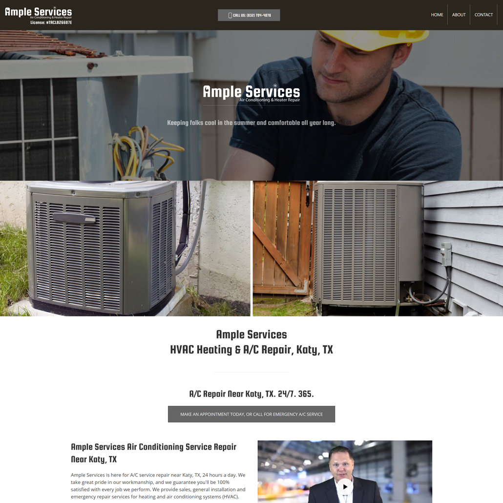 Custom Trustdyx website design for Ample Services home page in Katy, TX