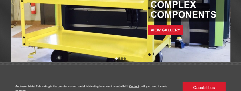 Custom WordPress website design for Anderson Metal Fabricating home page in Sartell, MN