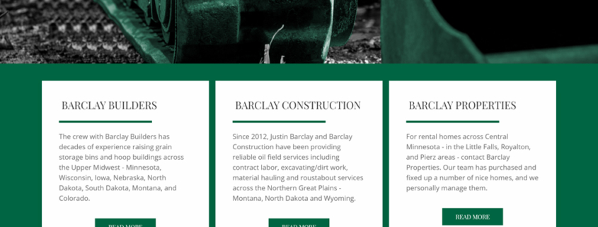 Custom Trustdyx website design for Barclay home page in Rice, MN
