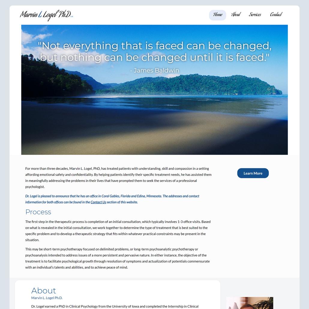 Custom Trustdyx website design for Marvin L. Logel, LTD home page in Edina, MN