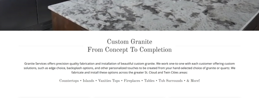 Custom Trustdyx website design for Granite Services home page in St. Joseph, MN