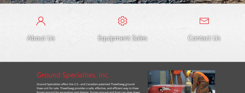 Custom Trustdyx website design for Ground Specialities home page in Milaca, MN