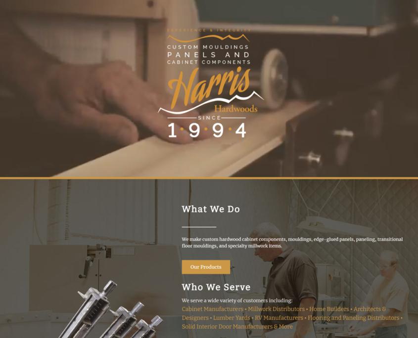 Custom Trustdyx website design for Harris Hardwoods home page in Foreston, MN