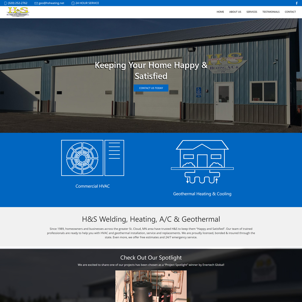 Custom Trustdyx website design for H&S Geothermal home page in St. Augusta, MN