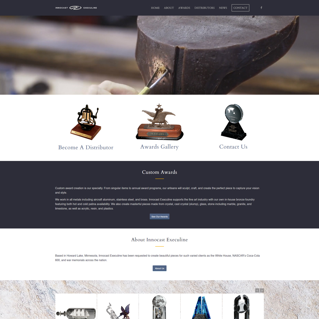 Custom WordPress website design for Innocast Execuline home page in Howard Lake, MN