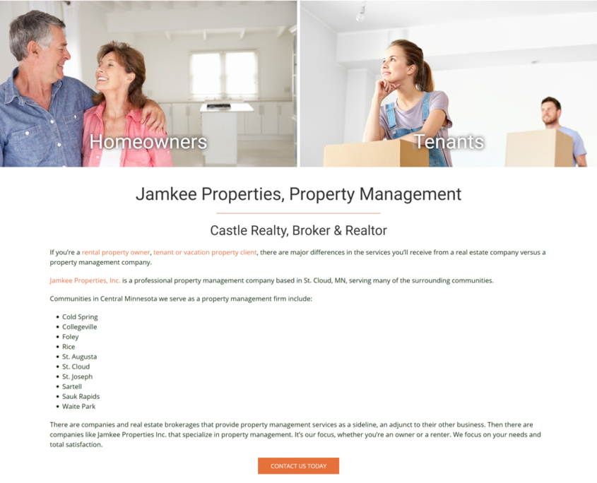 Custom Trustdyx website design for Jamkee Properties home page in St. Cloud, MN