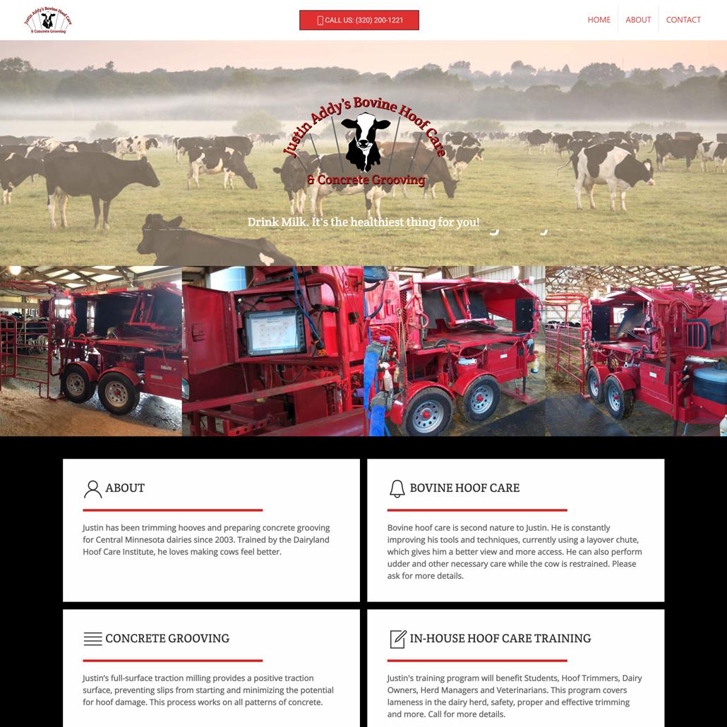 Custom Trustdyx website design for Justin Addy Bovine Care home page in Sartell, MN