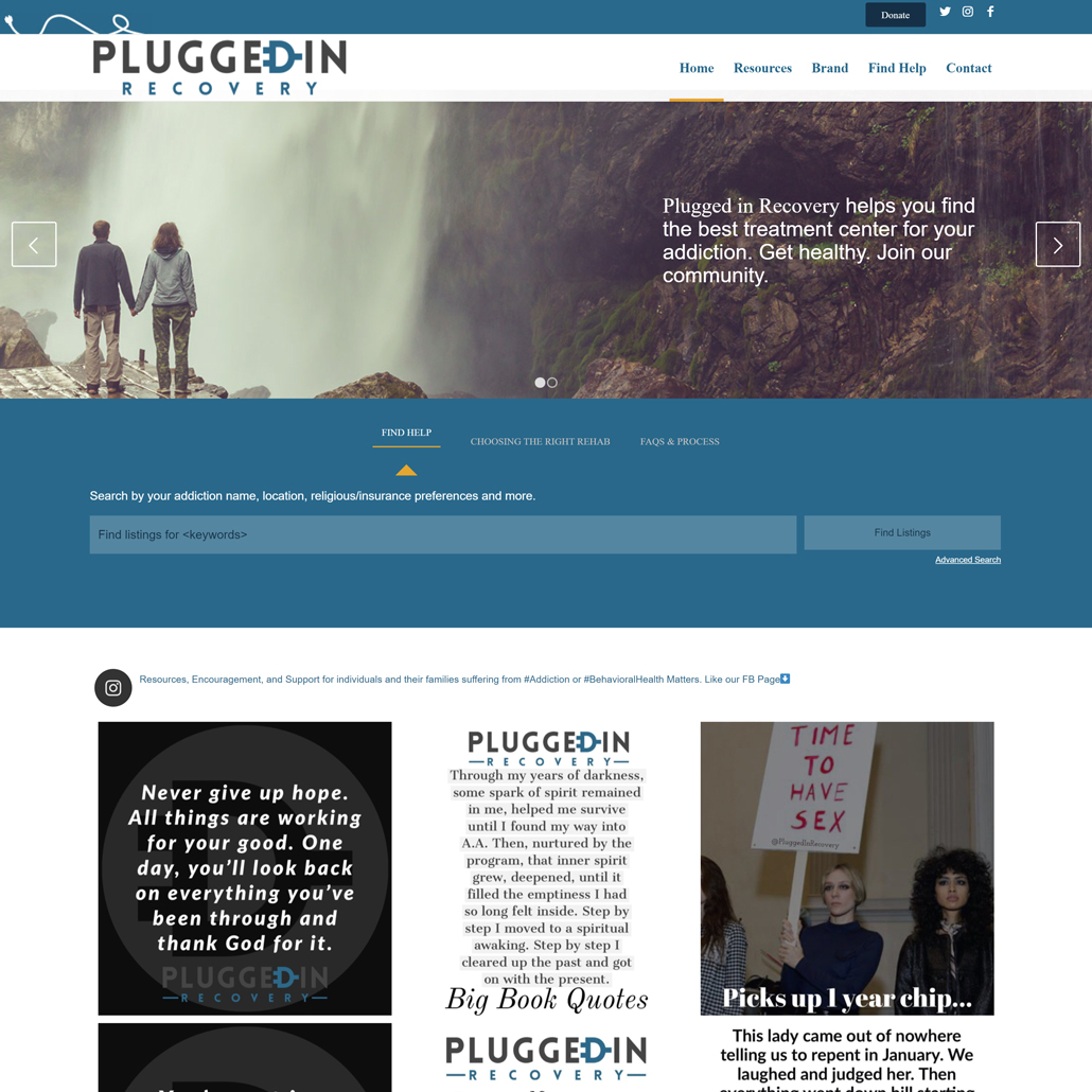 Custom WordPress website design for Plugged In Recovery home page in Chandler, AZ