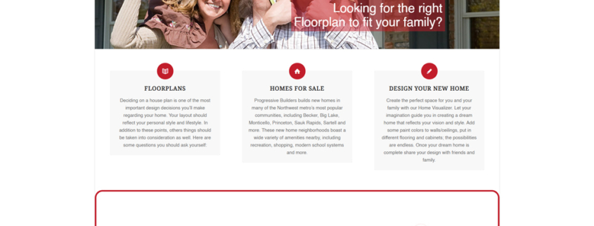 Custom WordPress website design for Progressive Builders home page in Big Lake, MN