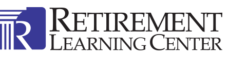 Logo for Retirement Learning Center featuring name along with stylized image at left with 'R' and ionic column.